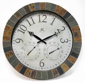 Infinity Instruments Indoor & Outdoor Indoor & Outdoor Weather Clock with Slate Mosaic