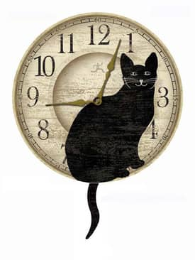 Infinity Instruments Whimsical Cat Pendulum Wall Clock