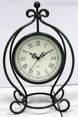 Infinity Instruments Wrought Iron Pewter Gray Metal Table Clock