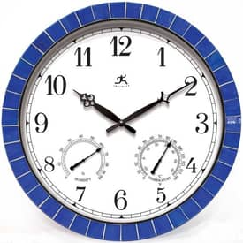 Infinity Instruments Indoor & Outdoor Indoor & Outdoor Decorative Tile Clock in Blue Finish