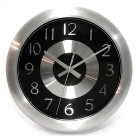 Infinity Instruments Contemporary Mercury Black Wall Clock with Aluminum Finish