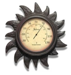 Infinity Instruments Thermometer Sunny Day Indoor & Outdoor Thermometer with Rust Finish