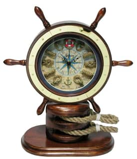 Infinity Instruments Nautical Catalina Ships Wheel w/Rope Knot Accents Wall Clock