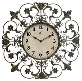 Infinity Instruments Wrought Iron Fleur De Lis Wall Clock
