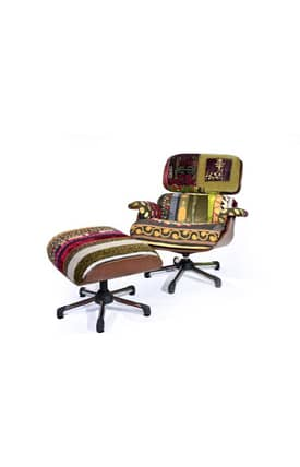 Rugs USA Boho Chic Eams a La Bokja Patchwork Chair and Ottoman Furniture