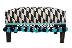 Rugs USA Ethno Marrakesh Kilim Ottoman with Tassels Furniture