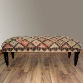 Rugs USA Benches Southwestern Navajo Upholstered Wooden Bench Furniture