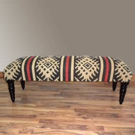 Rugs USA Benches Southwestern Aztec Upholstered Wooden Bench Furniture