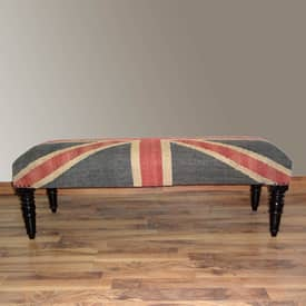 Rugs USA Benches Union Jack Upholstered Wooden Bench Furniture