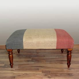 Rugs USA Benches Upholstered Kilim French Flag Bench Furniture