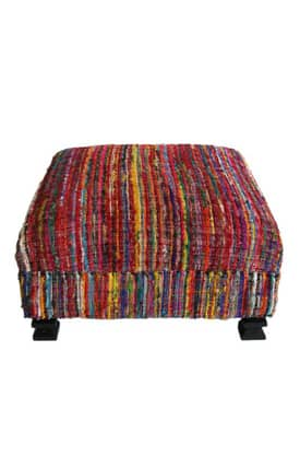 Rugs USA Ottomans Contemporary Rainbow Sari Silk Ottoman Furniture