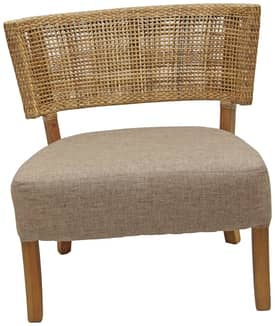 Rugs USA Ephesus Mahogany Chair with Rattan Weave Back Furniture