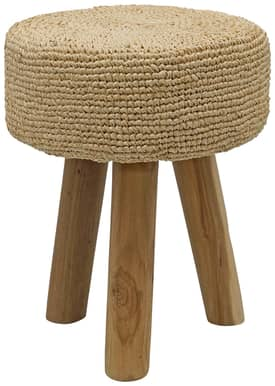 Rugs USA Ephesus 3 Leg Teak Stool with Gajeh Plant Weave Furniture