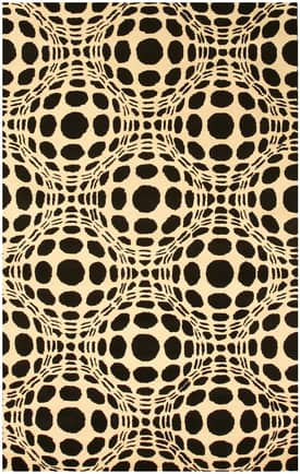 Eastern Oriental Black & White Opto Curves Rug