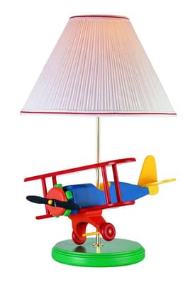 Lite Source Inc. Airplane Airplane Table Lamp with Green Solid Wood Base Lighting