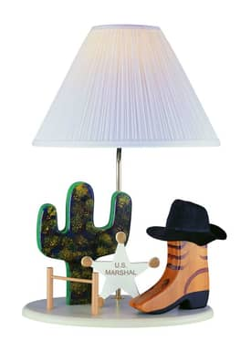 Lite Source Inc. Cowboy Cowboy Table Lamp With White Solid Wood Base Lighting