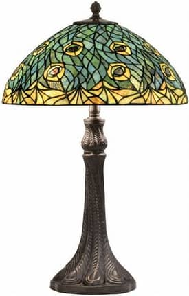 Lite Source Inc. Peacock Peacock Tiffany Table Lamp in Antique Bronze Finish Lighting