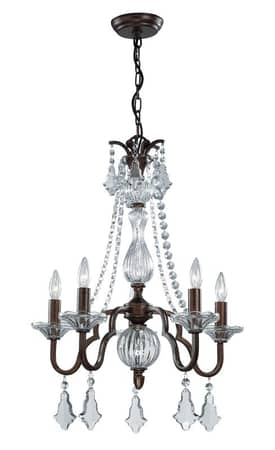 Lite Source Inc. Fulbright Fulbright C71135 5 Light Chandelier in Antique Gold Finish Lighting