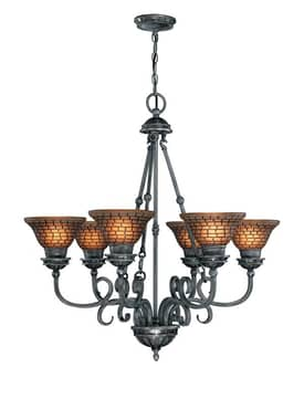Lite Source Inc. Balfour Balfour C7415 6 Light Chandelier in Antique Silver Finish Lighting