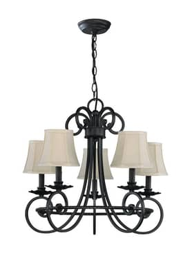 Lite Source Inc. Kendall Kendall C7417 5 Light Chandelier in Antique Brass Finish Lighting