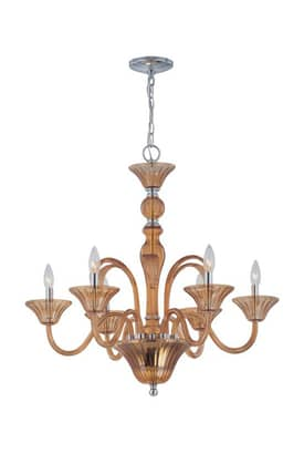Lite Source Inc. Benno Benno EL-10020AMB 6 Light Chandelier in Chrome Finish Lighting