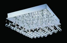 Lite Source Inc. Krysztal Krysztal LS-5580 16 Light Flush Mount in Stainless Steel Lighting