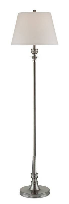 Lite Source Inc. Endymion Endymion LS-81138PS/WHT Floor Lamp in Polished Steel Finish Lighting