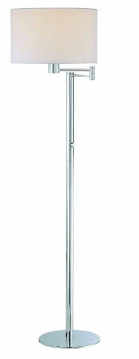 Lite Source Inc. Gervasio Gervasio LS-81606C/WHT Floor Lamp in Chrome Finish Lighting