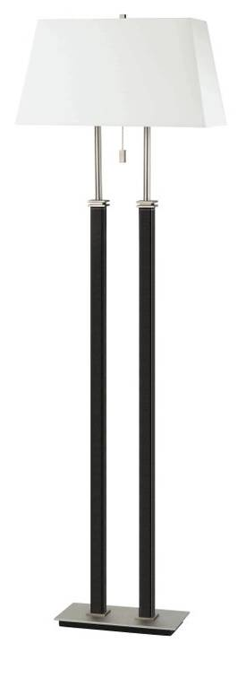Lite Source Inc. Brockton Brockton LS-8352LTHR Floor Lamp in Satin Steel Finish Lighting