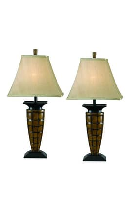Kenroy Home MP2 Boyd 2 Pack Table Lamp Set in Light Bronze Finish Lighting
