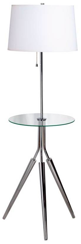Kenroy Home Rosie Rosie Floor Lamp with Glass Tray in Chrome Lighting