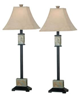 Kenroy Home MP2 Bennington Buffet Lamp in Natural Slate Finish Lighting