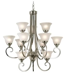 Kenroy Home Welles Welles 12 Light Chandelier with Brushed Steel Finish Lighting