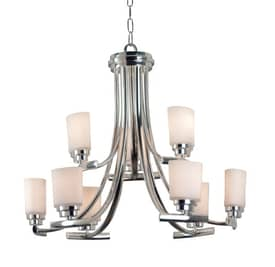 Kenroy Home Bow Bow 9 Light Chandelier in Polished Nickel Finish Lighting