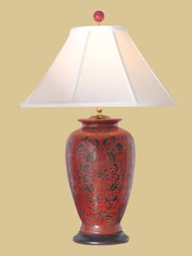 East Enterprises Oriental Red Vase Porcelain Oriental Table Lamp With Red Finish Lighting