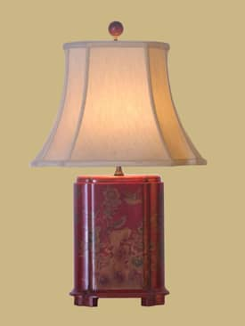 East Enterprises Oriental Bird And Floral Lacquer Table Lamp With Red Finish Lighting