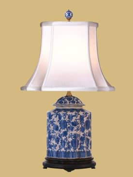 East Enterprises Oriental Blue & White Porcelain Jar Oriental Table Lamp With Blue Finish Lighting