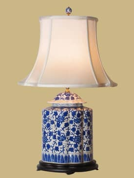 East Enterprises Oriental Blue & White Jar Oriental Table Lamp With Blue Finish Lighting