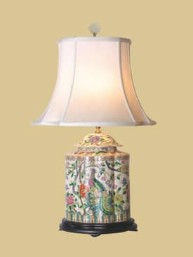 East Enterprises Oriental Phoenix & Floral Jar Porcelain Table Lamp With Blue Finish Lighting