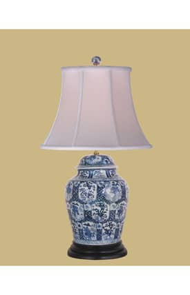 East Enterprises Asian Temple Jar LPBHK0815C Table Lamp In White Lighting