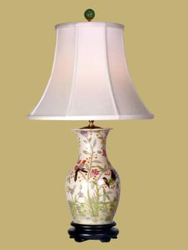 East Enterprises Oriental Bird Design Vase Porcelain Table lamp With Beige Finish Lighting