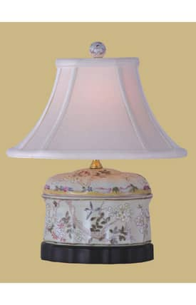 East Enterprises Asian Porcelain Oval Jar LPBMN088D Table Lamp In White Lighting