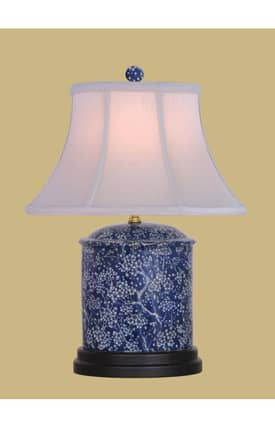 East Enterprises Asian Reverse Oval Jar LPBSM088N Table Lamp In Blue Lighting