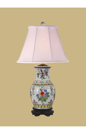 East Enterprises Oriental Floral Design Porcelain Oriental Table lamp With Beige Finish Lighting