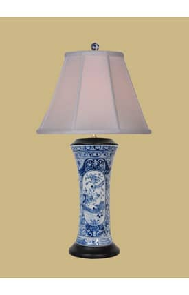 East Enterprises Asian English Vase LPBWK1012L Table Lamp In Blue Lighting