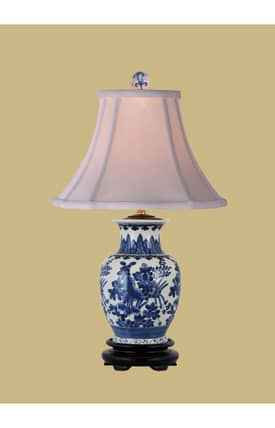 East Enterprises Asian Porcelain Vase LPBWY108B Table Lamp In Blue Lighting