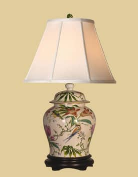 East Enterprises Oriental Temple Jar Porcelain Table lamp With Beige Finish Lighting