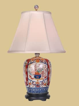 East Enterprises Oriental Imari Mealon Porcelain Jar Oriental Table lamp With Beige Finish Lighting
