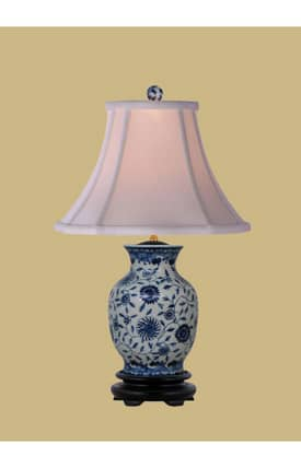 East Enterprises Asian English Porcelain Vase LPDBJH108B Table Lamp In White Lighting