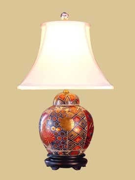 East Enterprises Oriental Imari Covered Porcelain Jar Oriental Table Lamp With Multi Finish Lighting